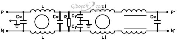 电源滤波器电路原理图